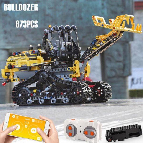 Technik 2 4 Ghz radio fernbedienung Engineering fahrzeug Bulldozer baustein TELEFON APP rc spielzeug timber grab - MOULD KING