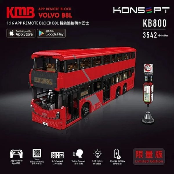 MOULDKING KB800 VOLVO B8L BUS with RC with 3542 pieces