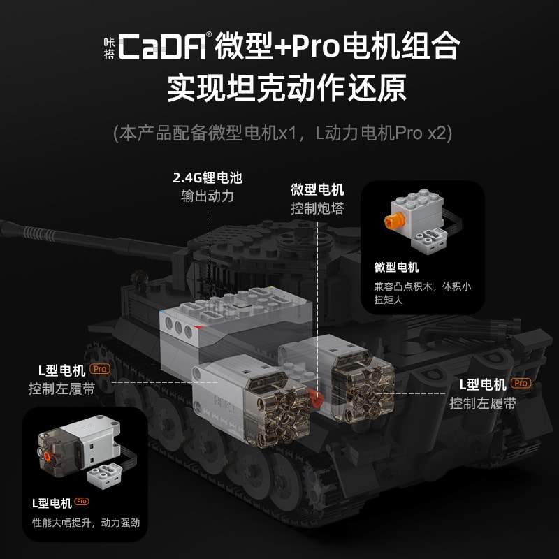 cada c61071 sdkfz 181 tiger tank with rc 5613 - MOULD KING