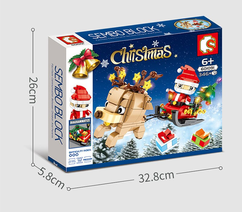 sembo 601091 christmas santa claus and reindeer 4665 - MOULD KING