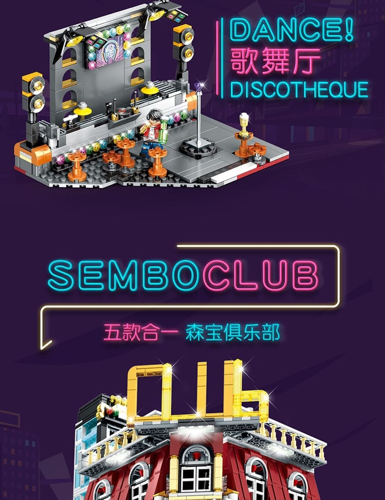sembo sd6991 5 in 1 street night semboclub with led light usb 6893 - MOULD KING