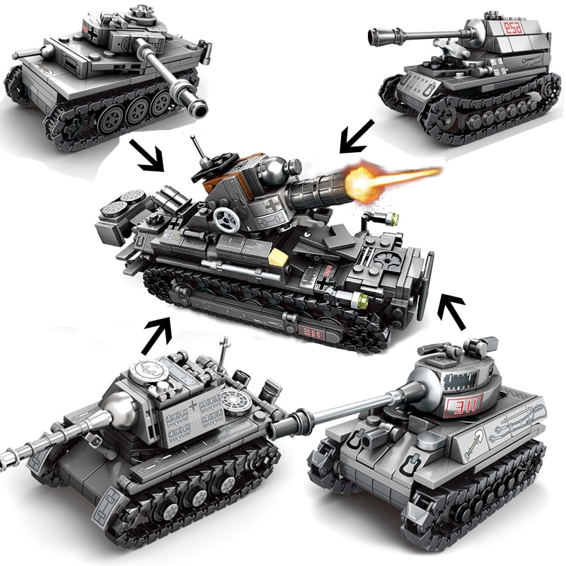sy 101213 101216 4 in 1 ww2 germany tank military vehicles 8122 - MOULD KING