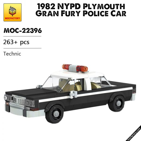 MOC 22396 1982 NYPD Plymouth Gran Fury Police Car Technic by OneBrickPony MOC FACTORY - MOULD KING