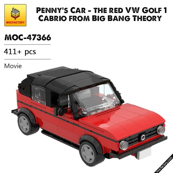 MOC 47366 Pennys Car the red VW Golf 1 Cabrio from Big Bang Theory Movie by brickotronic MOC FACTORY - MOULD KING