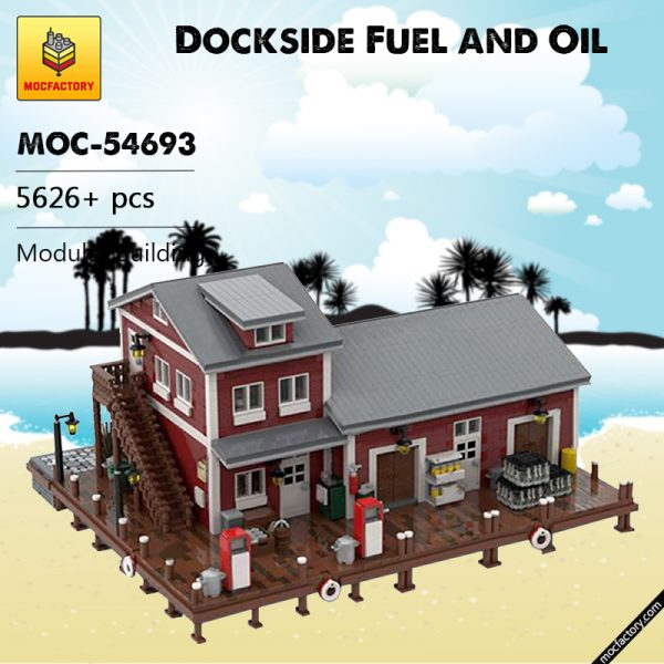 MOC 54693 Dockside Fuel and Oil Modular Building by jepaz MOC FACTORY - MOULD KING