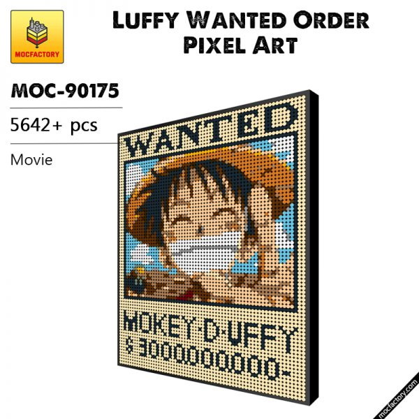 MOC 90175 Luffy Wanted Order Pixel Art Movie MOC FACTORY - MOULD KING